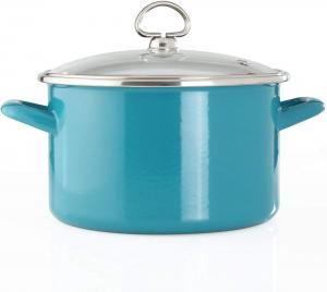 4 Quart Enamel-On-Steel Soup Pot with Glass Lid - Sea Blue