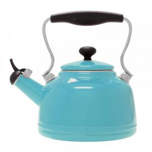 1.7 Quart Enamel-on-Steel Vintage Whistling Teakettle - Aqua