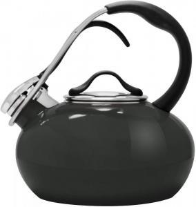1.8 Quart Classic Enamel-on-Steel Loop Whistling Teakettle - Onyx