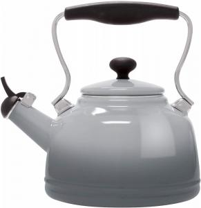 1.7 Quart Enamel-on-Steel Lake Grey Whistling Teakettle - Fade Grey