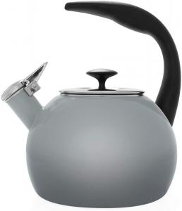2 Quart Enamel-on-Steel Heath Whistling Teakettle - Fade Grey