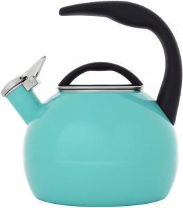 2 Quart Enamel-on-Steel Anniversary Whistling Teakettle - Aqua
